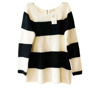Extra Touch Black and White Stripped Knit Top